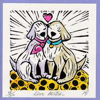 "Wedding, Anniversary Greetings Card, ""Love Match"" Hand Coloured Linoprint"
