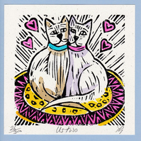 "Wedding, Anniversary, Greetings Card, ""Us two"" Hand Coloured Linoprint"