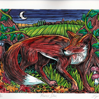 Limited Edition Hand Coloured Linocut Foxes Den