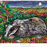Limited Edition Hand Coloured Lino Cut Badgers Set