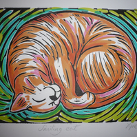 """ Smiling cat "" Linoprint"