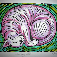 "Hand Coloured Lino Cut ""smiling cat"""
