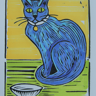 """ feed me! "" Hand Coloured Linoprint"
