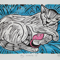 """Toy Mouse"" Hand Coloured Linoprint"