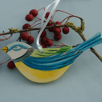 Blue Tit Birch Wood Bird Hanging Decoration