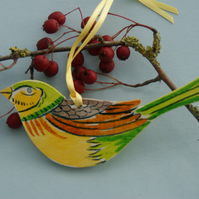 Yellow Bunting Birch Wood Bird Decoration