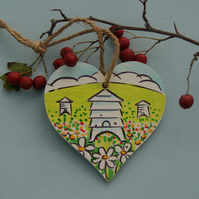 Bee Hive Birch Wood Heart Hanging