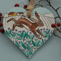 Wild Hare Birch Wood Heart Hanging
