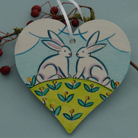 Bunny Love Birch Wood Heart Hanging