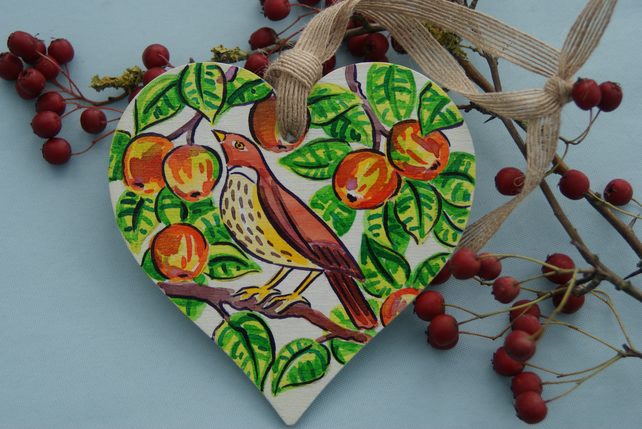 Orchard Song Thrush Birch Wood Hanging Decoration