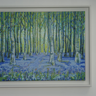 Blue Wood Original Framed Signed Acylic Landscape View Painting on Canvas