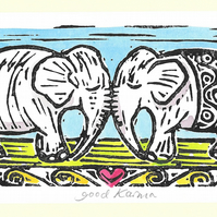 """Good Karma"" Birthday, Anniversary, Wedding, Linoprint Greetings Card"