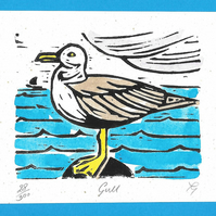 """Gull"" Birthday, Fathers Day, Linoprint Greetings Card"