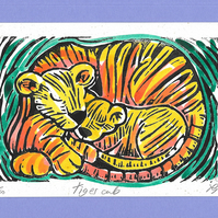 """Tiger Cub"" Linocut Greetings Card, New Baby, Mothers Day, Fathers Day"