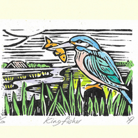 """King Fisher"" Birthday, Fathers Day, Special Occasion, Lino Print Greetings Card"