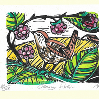 """Jenny Wren"" Birthday, Special Occasion, Lino Print Greetings Card"