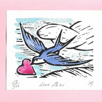 """Love Flies"" Linocut Greetings Card, Wedding, Anniversary, Valentines, Birthday"