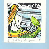 """Watching the Boats"" Linocut Greetings Card, Birthday, Special Occasion"