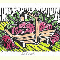 """Beetroot"" Linocut Greetings Card, Birthday, Gardeners, Foodies"