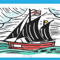 """Sailing"" Linocut Greetings Card, Birthday, Special Occasion"