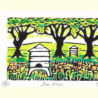 """Bee Hives"" Linocut Greetings Card, Birthday, Bee Lovers, Special Occasion"