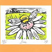 """Bee"" Linocut Greetings Card, Birthday, Bee Lover, Special Occasion"