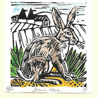 """Brown Hare"" Linocut Greetings Card, Birthday, Special Occasion"