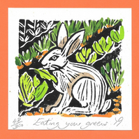 """Eating your Greens"" Linocut Greetings Card, Gardeners, Birthday, Veg Growers"