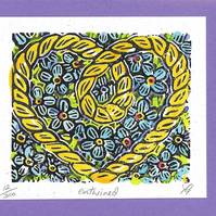 """Entwined"" Linocut Greetings Card, Birthday, Wedding Anniversary, Loved One,"