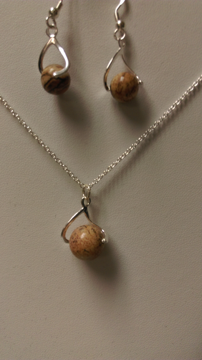 Sterling Silver Picture Jasper pendant & Earring set