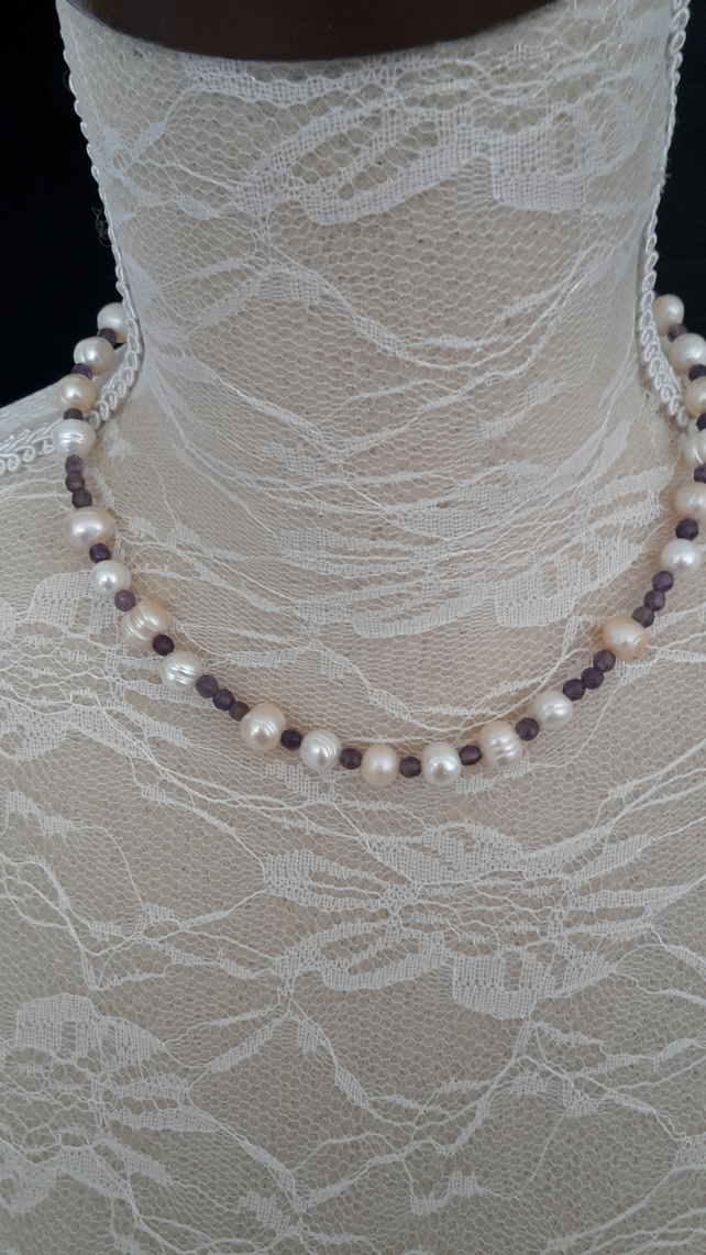 Fresh water Pearl & Amethyst  necklace