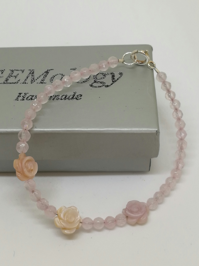 Rose Quartz & Mother of Pearl bracelet