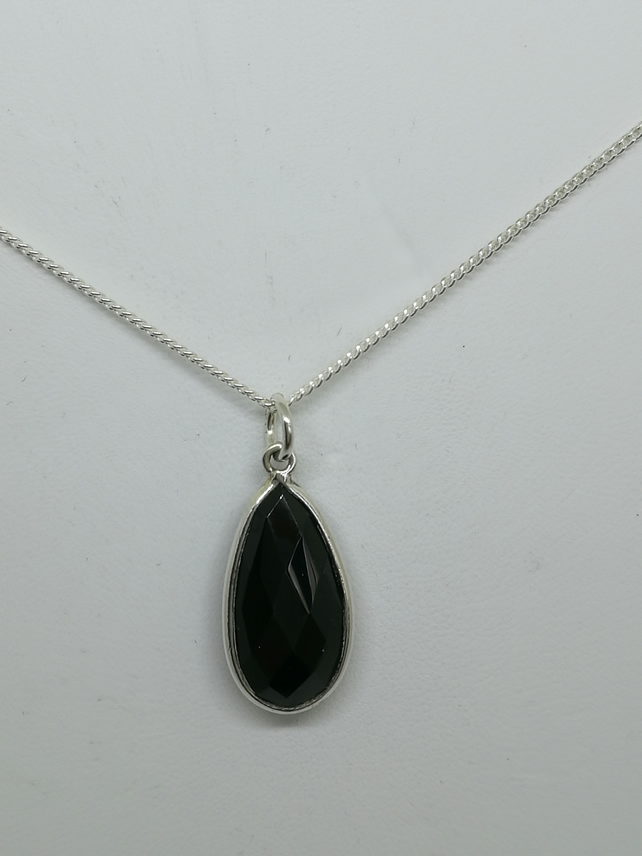 Black Spinel & Sterling Silver Pendant