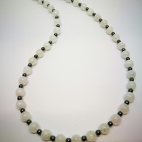 Rainbow Moonstone & Haematite necklace