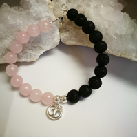 Rose Quartz & Lava Rock bracelet