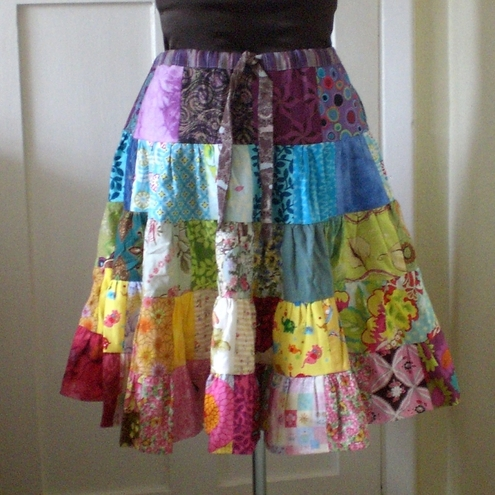 Rainbow Patchwork Skirt Custom Made for you - Folksy