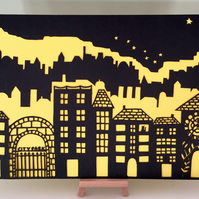 Papercut art, Colourful paper cut, City skyline, North Star, Paper cut black