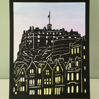 Papercut art, Edinburgh Castle Scotland, silhouette papercutting, papercut black