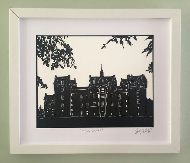 Scottish castle art, Fyvie Castle, Scotland, Framed papercut art