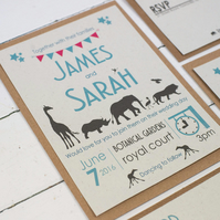 Wedding Invitations, Retro Safari, Eco, Handmade, Pack of 25, Elephant Dung