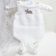 Pdf knitting pattern for premature baby or reborn romper with bunny slippers