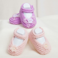 Pdf knitting pattern for baby or reborn shoes or booties for girls, 0-3 months
