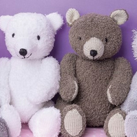 Pdf knitting pattern for 4 baby teddy bear toys by Angela Turner