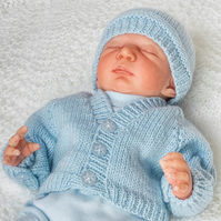 Pdf knitting pattern premature baby or reborn cardi with button cuffs, hat 10""