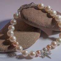 Freshwater Pearl and Silver Bead with Silver Charm Bracelet