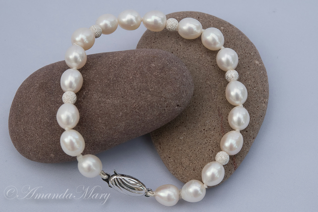 Freshwater Ivory Pearl and Sterling Silver Bracelet