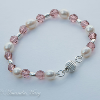 Ivory Pearl, Swarovski Rose Bead and Sterling Silver Bracelet
