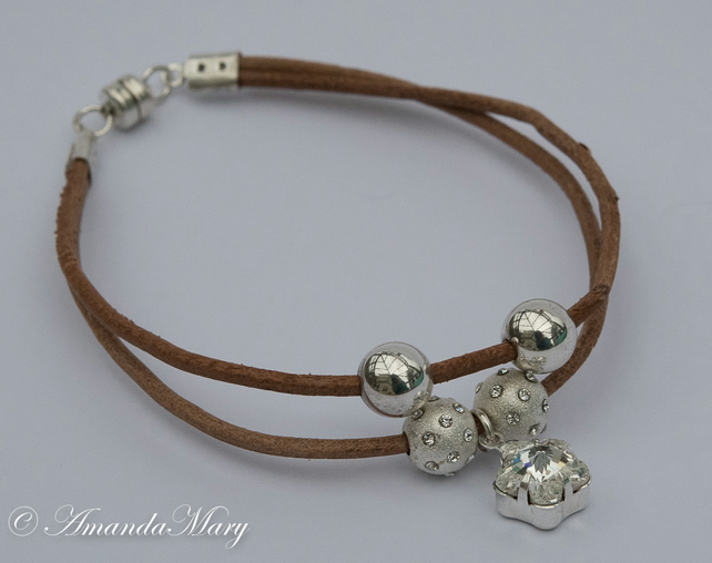 Brown Leather Bracelet with Sterling Silver Beads and a Swarovski Crystal