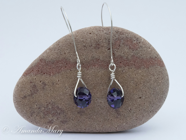 Amethyst Swarovski Crystal Sterling Silver Earrings