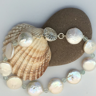 Silver Freshwater Coin Shaped Pearl and Gemstone Bracelet